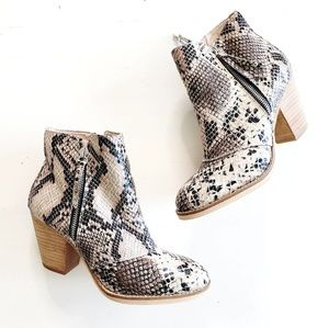 Chelsea Crew Snakeskin Stacked Heel Ankle Boots
